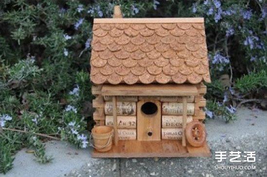 红酒瓶塞废物利用diy制作可爱的玩具屋鸟笼