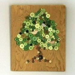 纽扣小手工:简单又好看的树木装饰画