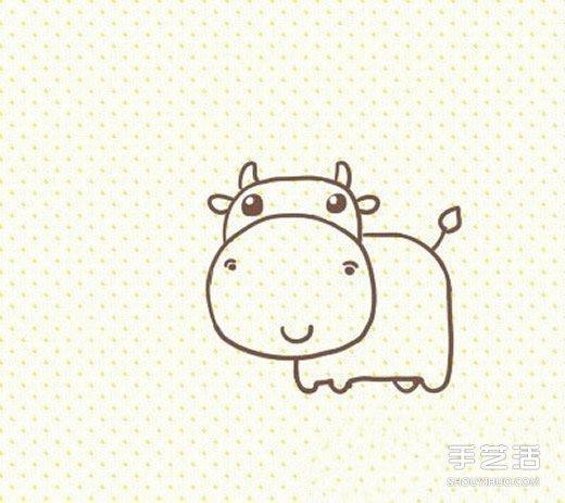卡通奶牛简笔画的画法 可爱奶牛简笔画图片