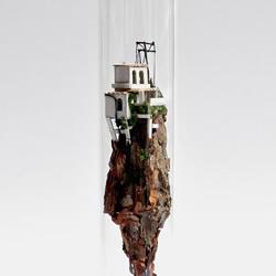 硬纸板和树枝变废为宝 DIY玻璃试管中的世