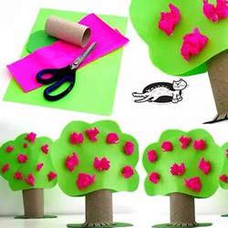 幼儿用卫生纸卷筒简单制作可爱小树的方