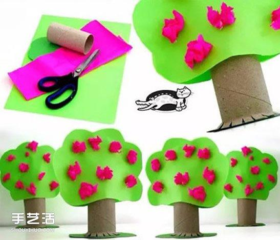 幼儿用卫生纸卷筒简单制作可爱小树的方法