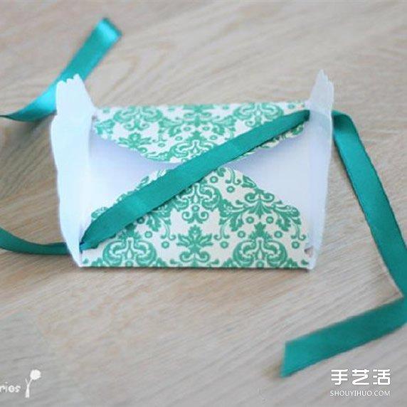 漂亮贺卡的制作方法 带丝带节日卡片手工制作 - www.shouyihuo.com