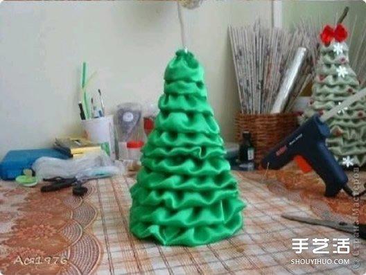 简单立体丝绸圣诞树的制作方法图解教程