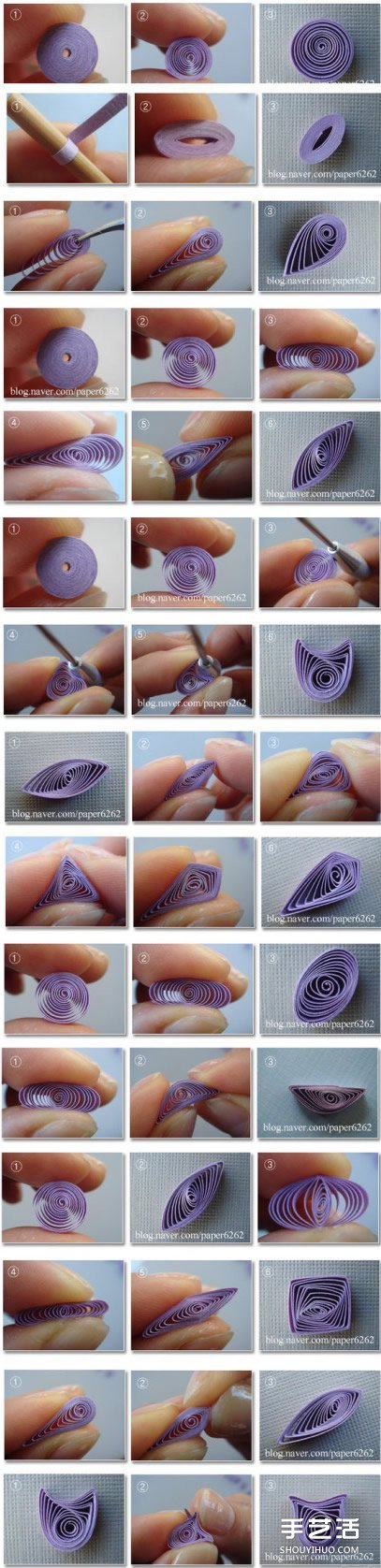 衍纸基础造型的做法 衍纸卷法DIY图解教程 -  www.shouyihuo.com