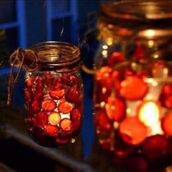 玻璃罐废物利用手工制作情人节浪漫烛台小夜灯