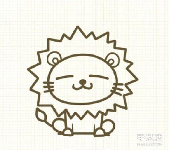 可爱狮子简笔画步骤 狮子简笔画彩色图片教程