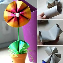 儿童简单手工:利用卫生纸卷筒制作小花盆景