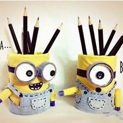 小黄人笔筒制作步骤 铁罐制作笔筒的方法教程