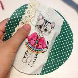 可爱的小猫图案杯垫布艺手工制作图解教程