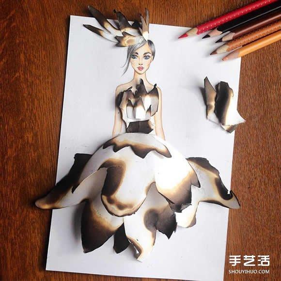插画家利用生活用品DIY制作画中人的美丽服饰