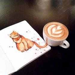 咖啡猫插画:闻到浓浓咖啡香气就清醒了