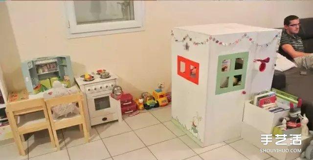 废弃纸箱废物利用diy手工制作带门的小房子