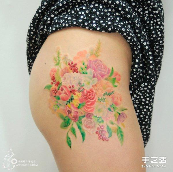 来自韩国的唯美浪漫水彩花卉风格纹身图案