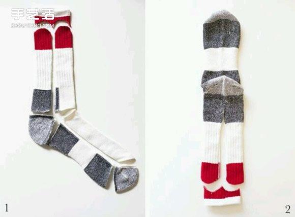 袜子手工制作可爱猫咪布偶的方法图解教程