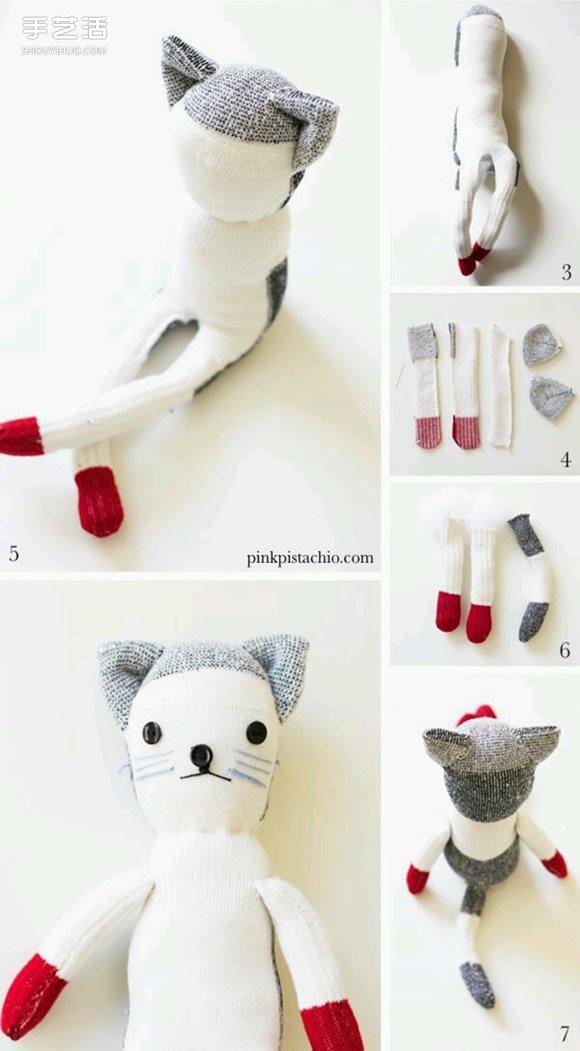袜子手工制作可爱猫咪布偶的方法图解教程 - www.shouyihuo.com