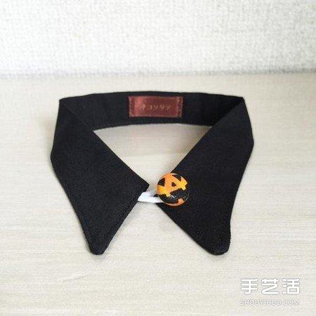 破旧衬衫废物利用DIY手工制作绅士猫项圈 -  www.shouyihuo.com