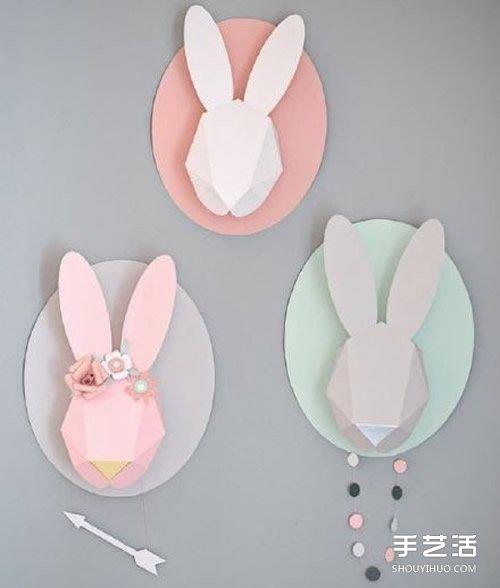 折纸立体兔头的方法 立体兔子的头的折法图解图片