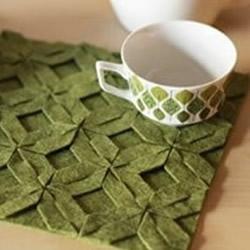 拼布杯垫DIY制作教程 带图案杯垫布艺手工制作