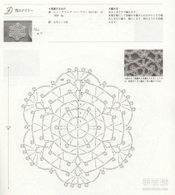 文艺范,少女风手工针织杯垫的针法图解 - www.shouyihuo.com