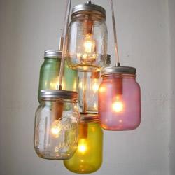 玻璃罐头瓶子废物利用手工diy制作漂亮的灯饰图片
