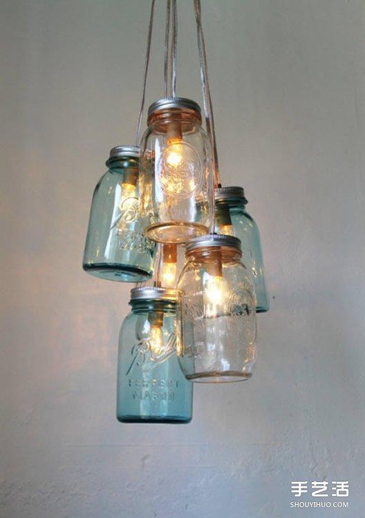 玻璃罐头瓶子废物利用手工diy制作漂亮的灯饰