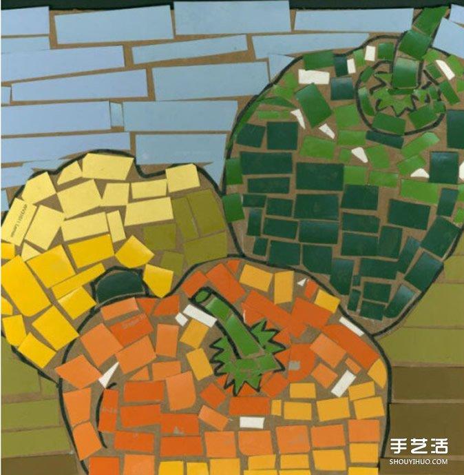 分享一组马赛克风拼贴画,利用各种颜色的裁剪小纸片拼贴出水果和动物.