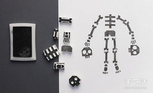 可以任意组合的骷髅小人橡皮章DIY图解教程 -  www.shouyihuo.com