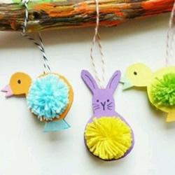 适合小朋友的毛线球兔子和小鸟挂件手工
