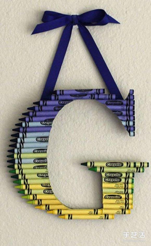 幼儿简单小手工 利用蜡笔制作字母装饰挂件