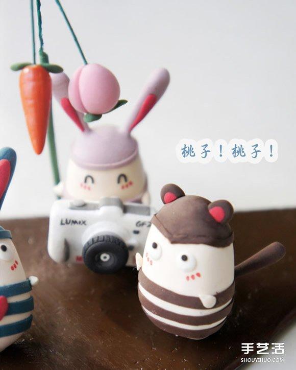 越狱兔软陶diy作品 可爱手工粘土兔子图片 - www.shouyihuo.com