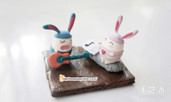 越狱兔软陶diy作品 可爱手工粘土兔子图片