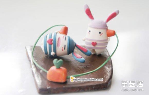 越狱兔软陶DIY作品 可爱手工粘土兔子图片_手艺活网