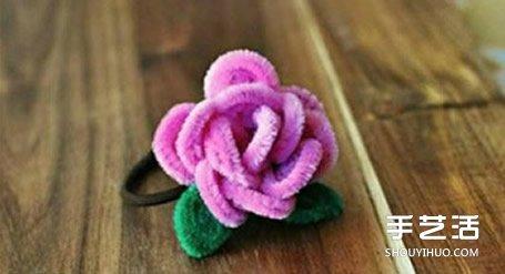 扭扭棒花朵教程图解 diy手工制作玫瑰花头绳