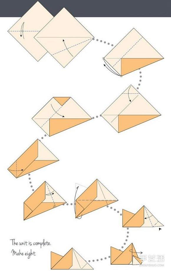 组件的折法步骤图,需要折出8个,建议用不同颜色的纸张来折.-折纸