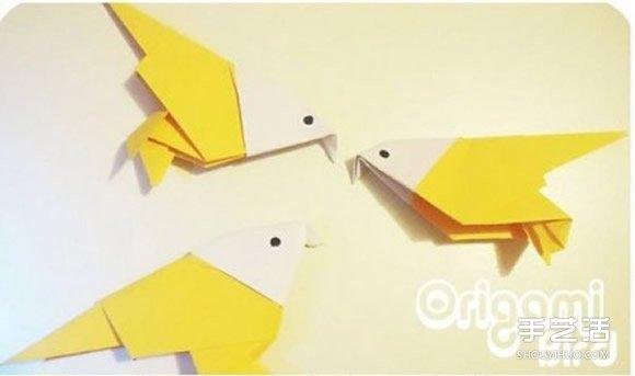 带给大家立体小鸟的折纸教程