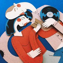温馨的平面剪纸艺术作品 感受家人相处的爱