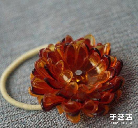 塑料花怎麼做 美麗的塑料花頭繩DIY手工製作