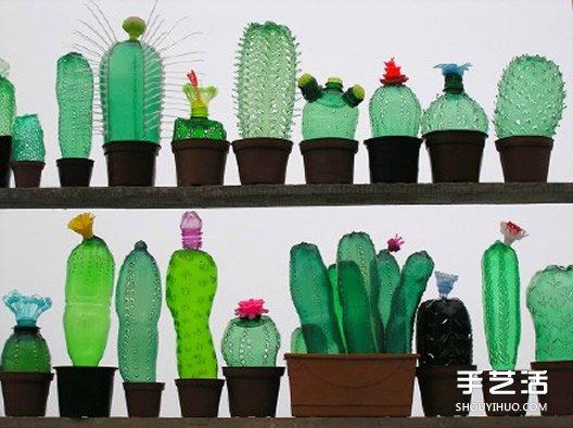 旧塑料瓶手工制作 仙人掌