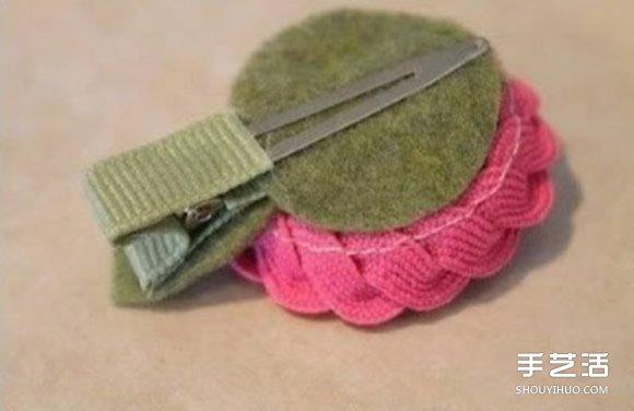 利用不织布花边diy制作漂亮的花朵发夹发饰