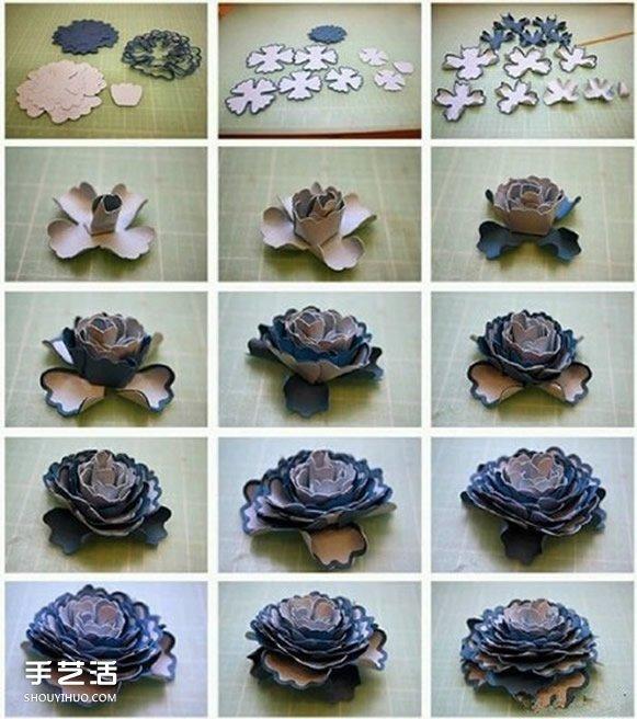 8種美麗紙花的製作過程 立體紙花的做法圖解