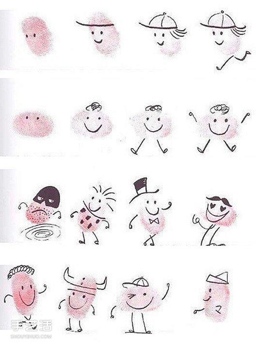 各种人物表情和搞怪小人手指画