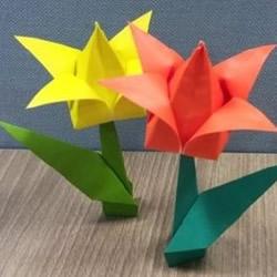 郁金香纸花的折法图解 手工折纸郁金香步