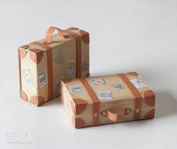 利用牛皮纸和火柴盒DIY制作迷你行李箱模型