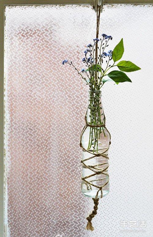 超有感觉的森系垂吊花瓶diy制作教程,应该也算是一种结艺吧~利用麻绳