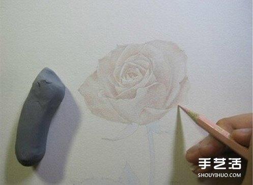 彩铅玫瑰花的画法步骤