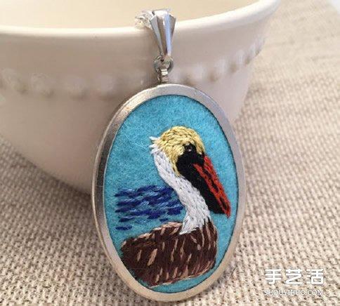动物图案刺绣项链作品 手工刺绣项链坠子图片 -  www.shouyihuo.com