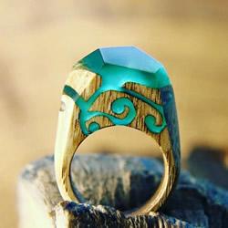 指间装进宇宙 超美的纯手工树脂木戒指图片