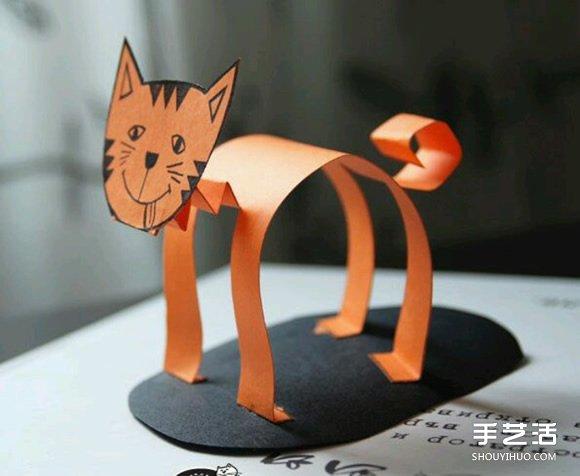 幼儿立体猫咪的做法 简单剪纸制作站立猫咪