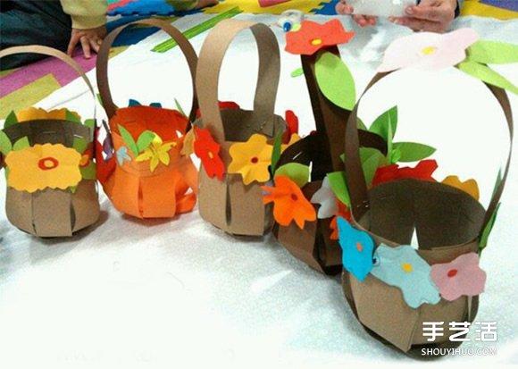 幼儿小花篮折纸的折法 小花篮的制作过程图解